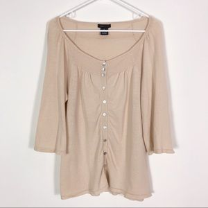 BCBGMaxAzria Tan Knit 3/4 Sleeve Cardigan Sweater
